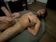 MOANING FEM TWINK STRUGGLES IN BONDAGE AND SUCKS COCK