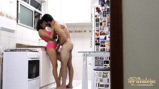 A very hot fuck in the kitchen Sit in the next room and look!