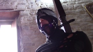 Laura XXX bound and masked deepthroating with ring gag in her mouth