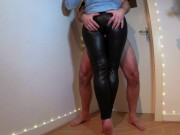 hot slutty wife gives thighjob in her tight leather pants and gets cum on her big leather ass