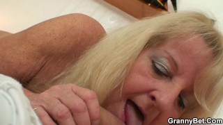 Old blonde grandma in stockings rides young dick