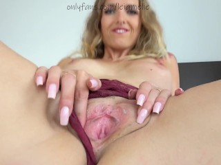 Dirty Talk & I spread my wet Pussy for you & beg you to cum! Amelie Lei, blonde, close up