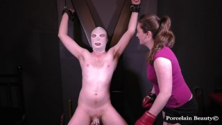 Chastity Slave Kicked In The Balls