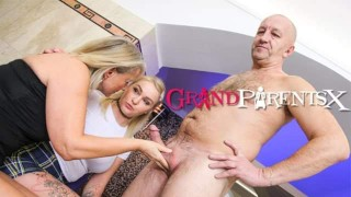 Pigtail Babe Seduced by Two Old Farts