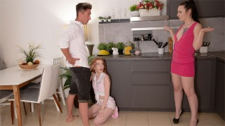 Naughty couple seduces a tiny girl