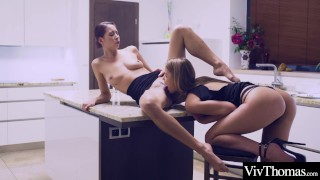 Busty beauty and sexy blonde spend their date night licking each other's hot pussy