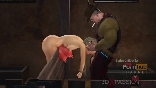 Four breasts and an udder! Farmer plays with a sexy young woman in cowshed