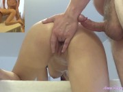 This girl wants a massage, but she ends up having a very rough anal penetration