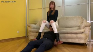 [PREVIEW] Domina Kira Humiliation Her Slave - Jeanssitting and Spitting Femdom