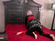 Hot latex rubber lesbian play. Romantic fetish video.