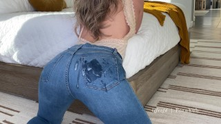 Tight bodied blonde dry humps Blue jeans covered with cum Amateur couple lifeofd