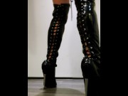 7 Inch High Heel Stiletto Black PVC Thigh High Boots Walking Standing  Miss Nyxia  Pleaser Shoes