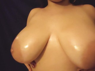 HUGE Oiled Natural Tits Bouncing