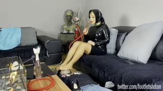 Arab Mistress Cleopatra Foot Gagging in latex hijab