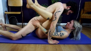 Screen Capture of Video Titled: Fucking is the best exercise! Yoga session interrupted by his big hard cock