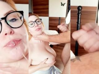 Busty Redhead loves to suck ballsdeep! Amazing Deepthroat Skills + Facial on Glasses