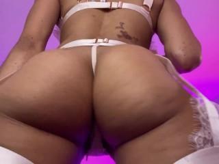 Goddess Rosie Reed Ass Clapping Twerk Ebony Booty Cheeks Slim Thick Pink Lingerie Tease