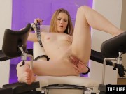 Kinky blonde beauty in restraints fingerbangs her hot hairy pussy