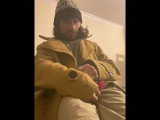 Guy with cerebral palsy gets cum over his shirt