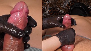 Gloves mistress gives extreme post orgasm torture on tied slave at the head of the cock after he cum