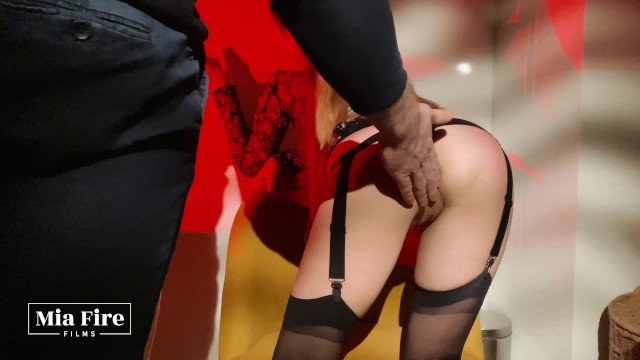 Mia Fire with the Master - booty spanking, nipple clamps, clit pulling, cum In mouth