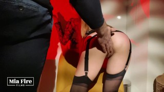 Mia Fire with the Master – booty spanking, nipple clamps, clit pulling, cum In mouth