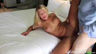 Busty Blonde Stripper Marie Bends Over For Daddy's Rich Dick