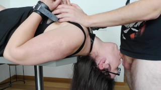 Upside Down Sloppy Deepthroat Blowjob Reverse 69 with Nerdy Girl