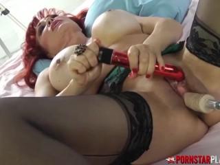 PORNSTARPLATINUM Busty MILF Sexy Vanessa Uses Fuck Machine