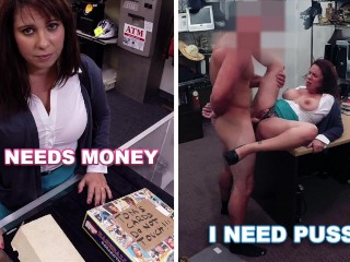 XXX PAWN - Curvy MILF Earns Money To Bail Out Her Husband By Riding My Cock