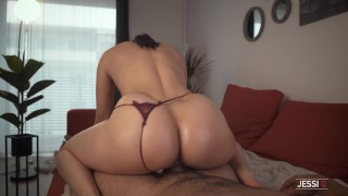Don't cum as I grind my pussy on your cock and then I ride it hard with my big ass – Jessi Q