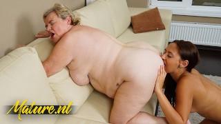 BBW Granny Seduces Shy Teen Into Eating Her Big Fat Ass