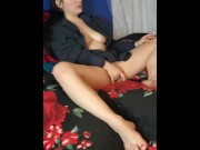 hotwife milf masturbating while smoking and watching porn