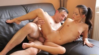 OLD4K Excited babe with small tits nicely rides boner of old partner