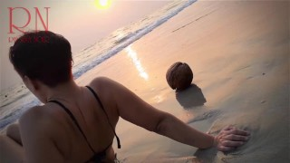 Nice lady at lonely nudist beach. Red swimsuit. Red bikini. Coconut 2