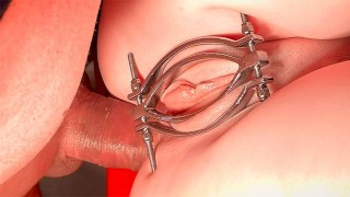 Teenpussy in Metal Clamp fucked in the Ass and Pussy screams of Pain and Pleasure – Extreme Close Up