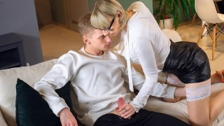 TUTOR4K Guy makes move on blonde tutor after discovering her sex toys
