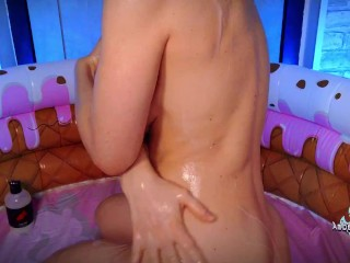 Dirty Busty Slut Gushing Full Pool of Squirts During Anal Masturbation