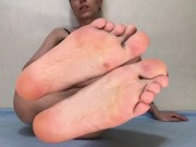 Barefoot Miss puts her feet on your face foot fetish