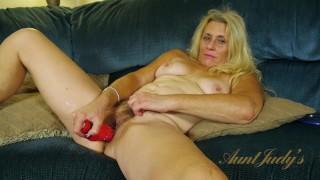 AuntJudys .. 48yo FullBush Cougar Cristine TOYS HER HAIRY BLONDE PUSSY