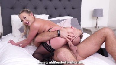 Hot blonde Adira Allure gets fucked and facialed by a big cock