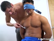Restrained blindfolded hunk slowly tickled with toothbrush