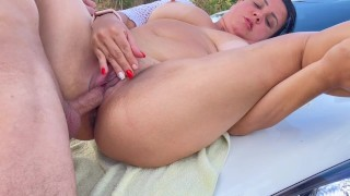 porn vacation in style squirt and cumshot outdoors in the mountains