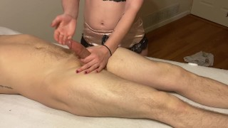 Extreme post orgasm torture makes him cum twice!