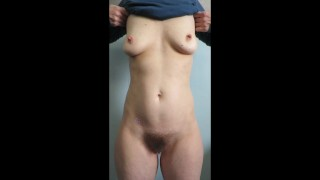 Cummybush PERKY NIPPLES and perfect hairy bush-MILF does titty drop shows her sexy AF 40 y.o. body