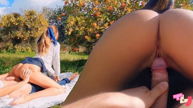 TINDER DATE - romantic picnic in orange grove ends in intense fuck & nasty Creampie (TanlineJourney)