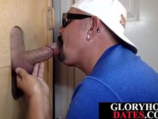 Gloryhole daddy sloppy sucking stiff pecker