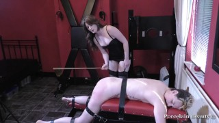Fem Sub Gets Pussy Torment, Spanking, Whipping & Caning