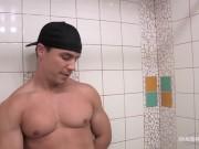 Bodybuilder's Uncut Dick Stroked In Bathroom (BTS Footage) - Maskurbate