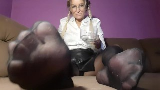 mistress puts her slave on knees and makes her bow to her legs